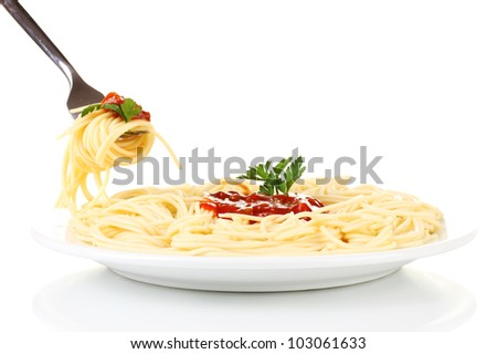 Italian spagetti cooked in a white plate with fork on white background close-up - stock photo