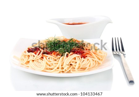 Italian spagetti cooked in a white plate with tomato sauce isolated on white - stock photo