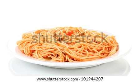 Italian spagetti cooked with tomato sauce in a white plate isolated on white - stock photo