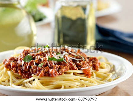 Italian spaghetti dinner - stock photo