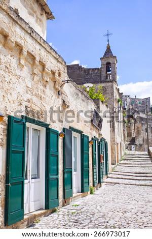 Italian street, Matera, Italy - stock photo