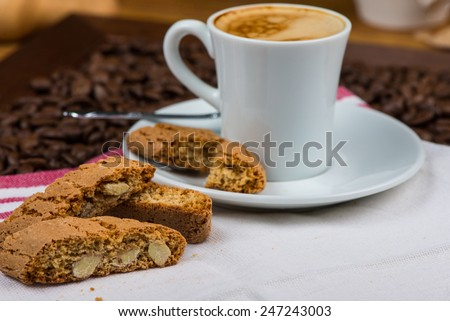 Italian style breakfast, coffee with almond biscuits - stock photo