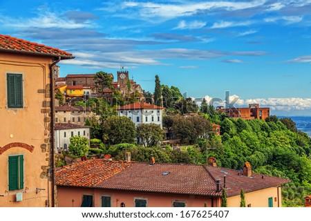 Italian town Montekatini Alto. Cityscape. - stock photo