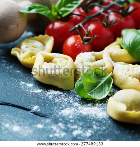 Italian traditional tortellini on the table, selective focus and square image - stock photo