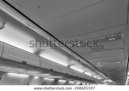 Italy, airplane cabin - stock photo