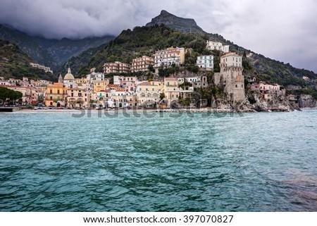 Italy, Amalfi Coast: beautiful Cetara village with sea on foreground. - stock photo