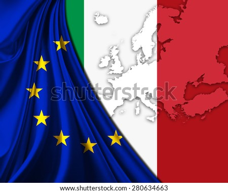 Italy and European Union Flag with Europe map background - stock photo