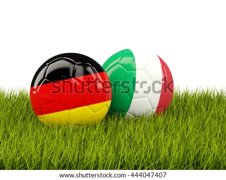 Italy and Germany soccer  balls on grass. 3D illustration - stock photo