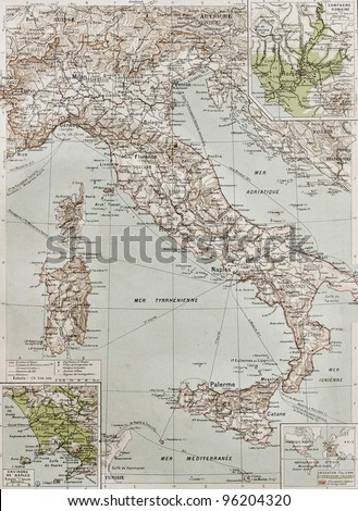 Italy at the end of 19th century with Naples and Rome areas insert maps. By Paul Vidal de Lablache, Atlas Classique, Librerie Colin, Paris, 1894 (first edition) - stock photo