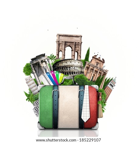 Italy, attractions Italy and retro suitcase, travel - stock photo