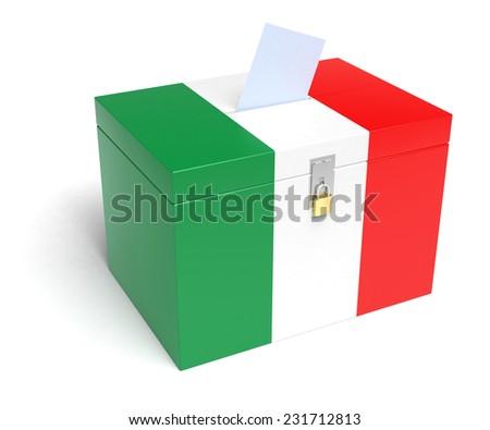 Italy ballot box with Italian Flag. Isolated on white background. - stock photo