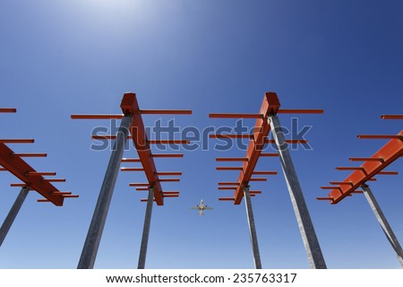 Italy, Bari International Airport, flight control sensors - stock photo