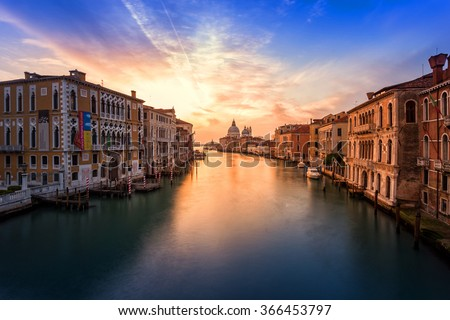 Italy, Beautiful Canal Grande in Venice at sunrise - stock photo
