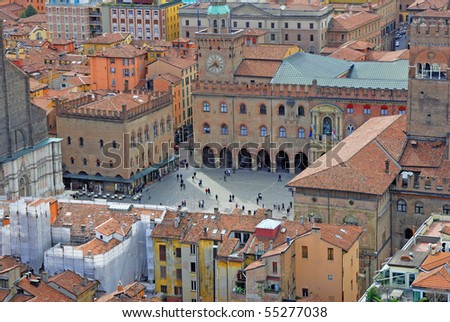 Italy, Bologna aerial view from Asinelli tower, king Enzo castle and main square - stock photo