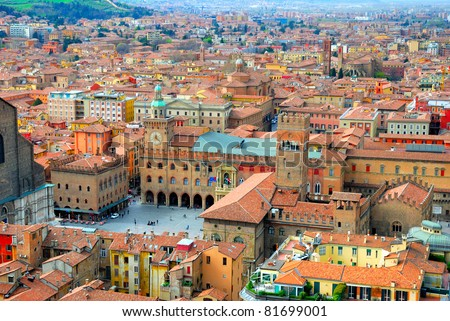 Italy, Bologna main square aerial view from Asinelli tower - stock photo