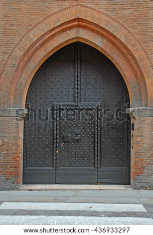 Italy, Bologna medieval door. - stock photo