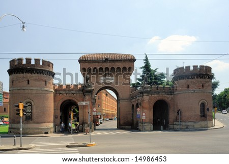 Italy Bologna old medieval city door Saragozza - stock photo