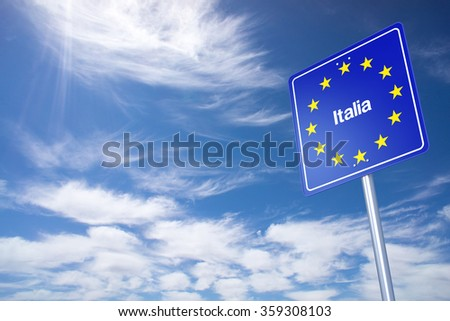 Italy Border Sign with clouds sky. 3D Rendering - stock photo