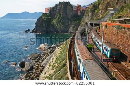 Italy. Cinque Terre. Train at station Manarola - stock photo