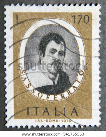 ITALY - CIRCA 1976: a postage stamp of Italy shows image of Giovanni Battista Salvi, better known as Sassoferrato Italian baroque painter - stock photo