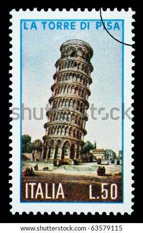 ITALY - CIRCA 1970: A postage stamp printed in Italy showing the Tower of Pisa, circa 1970 - stock photo