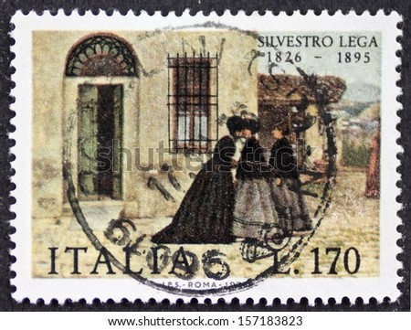 ITALY CIRCA 1976: a stamp printed in Italy celebrates Silvestro Lega (1826 - 1895), Italian realistic painter of the Macchiaioli school, showing his painting La Visita (The Visit). Italy, circa 1976 - stock photo