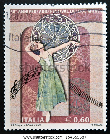 ITALY - CIRCA 2007: A stamp printed in Italy dedicated to Anniversary Festival of the Two Worlds (Festival dei Due Mondi), circa 2007  - stock photo