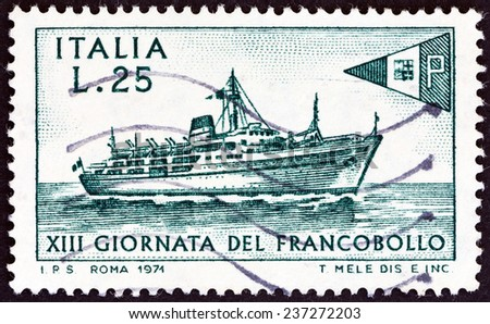 "ITALY - CIRCA 1971: A stamp printed in Italy from the "" Stamp Day "" issue shows Liner Tirrenia, circa 1971.  - stock photo"