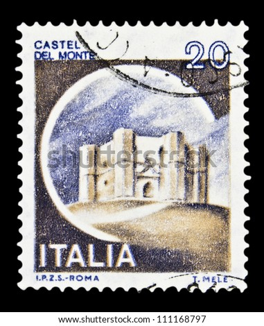"""ITALY - CIRCA 1980: A stamp printed in Italy, shows castle Del Monte, Andria with the same inscription, from the series """"Italian castles"""", circa 1980 - stock photo"""