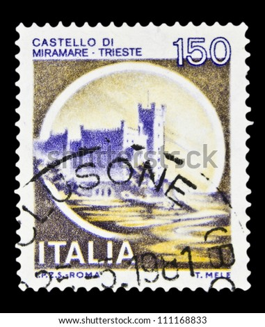 """ITALY - CIRCA 1980: A stamp printed in Italy, shows castle Miramare, Trieste with the same inscription, from the series """"Italian castles"""", circa 1980 - stock photo"""