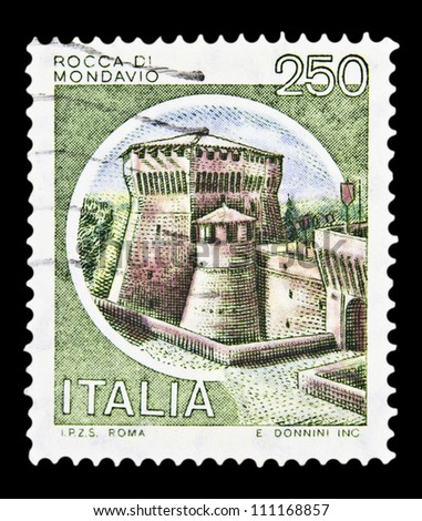 """ITALY - CIRCA 1980: A stamp printed in Italy, shows castle Mondavio with the same inscription, from the series """"Italian castles"""", circa 1980 - stock photo"""