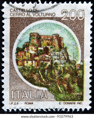 ITALY - CIRCA 1980: A stamp printed in Italy, shows castle of Cerro al Volturno, Isernia, Italian series of castles , circa 1980 - stock photo