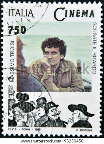 ITALY - CIRCA 1996: A stamp printed in Italy shows Massimo Troisi, circa 1996 - stock photo