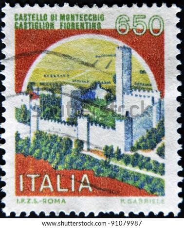 ITALY - CIRCA 1980: A stamp printed in Italy, shows Montecchio Castle, Castiglion Fiorentino, Italian series of castles , circa 1980 - stock photo