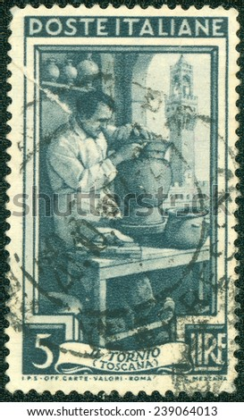 ITALY - CIRCA 1950: A stamp printed in Italy, shows Potter, Piazza della Signoria, Florence (Tuscany) series work of Italians, circa 1950 - stock photo