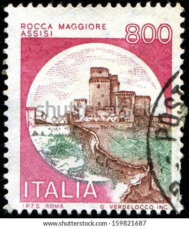 ITALY - CIRCA 1980: A stamp printed in Italy shows Rocca Maggiore, Assisi, circa 1980 - stock photo
