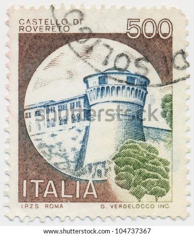 ITALY - CIRCA 1980: A stamp printed in Italy, shows Rovereto, Trento, circa 1980 - stock photo