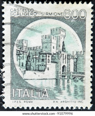 ITALY - CIRCA 1980: A stamp printed in Italy, shows Scaligero Castle, Sirmione, italian series of castles, circa 1980 - stock photo