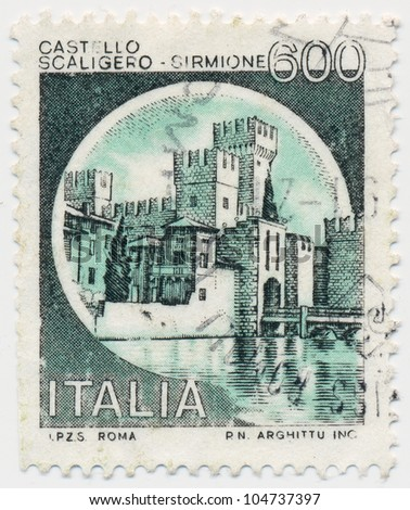 ITALY - CIRCA 1980: A stamp printed in Italy, shows Scaligero, Sirmione, circa 1980 - stock photo