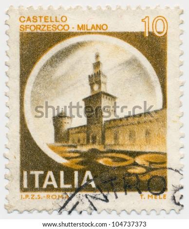 ITALY - CIRCA 1980: A stamp printed in Italy, shows Sforzesco, Milan, circa 1980 - stock photo