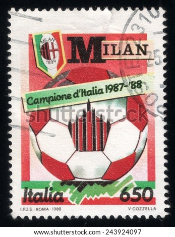 ITALY - CIRCA 1988: post stamp printed in Italy celebrates AC Milan victory in national soccer championship, circa 1988 - stock photo