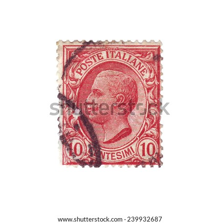 ITALY - CIRCA 1919: Postage stamp with a picture king of Italy Vittorio Emanuele III, circa 1919 - stock photo
