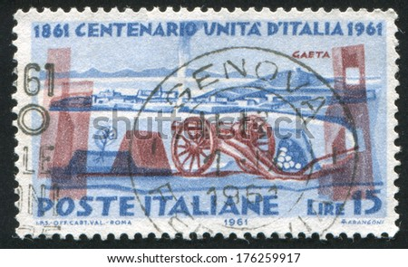 ITALY - CIRCA 1961: stamp printed by Italy, shows Cavalli gun and Gaeta fortress, circa 1961 - stock photo