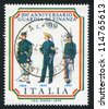 ITALY - CIRCA 1974: stamp printed by Italy, shows Customs frontier guards and Naval marshal, circa 1974 - stock photo