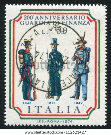 ITALY - CIRCA 1974: stamp printed by Italy, shows Customs frontier guards, circa 1974 - stock photo