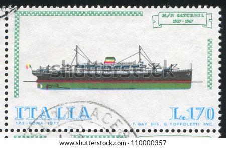 ITALY - CIRCA 1977: stamp printed by Italy, shows Italian Ships, Passenger liner Saturnia, circa 1977 - stock photo