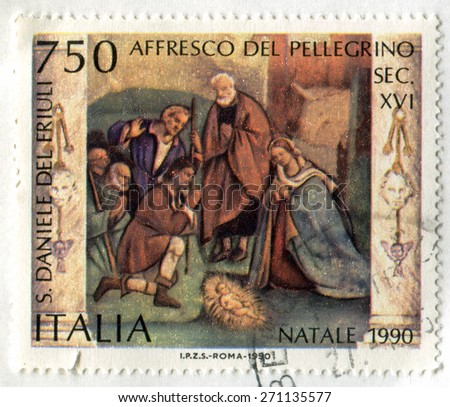 ITALY - CIRCA 1990: stamp printed by Italy, shows Pellegrino, circa 1990 - stock photo
