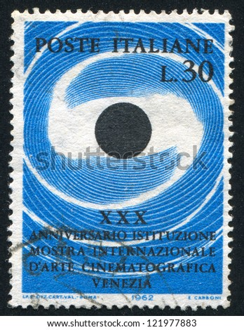 ITALY - CIRCA 1962: stamp printed by Italy, shows Stylized camera eye, circa 1962 - stock photo