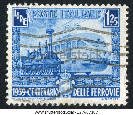 ITALY - CIRCA 1939: stamp printed by Italy, shows Various locomotives, circa 1939 - stock photo