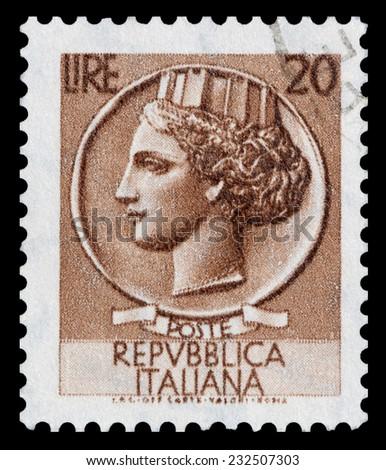 ITALY - CIRCA 1968: stamp printed in Italy shows the profile Italia Turrita, circa 1968. - stock photo
